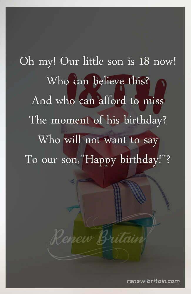 18th Birthday Poem For Son